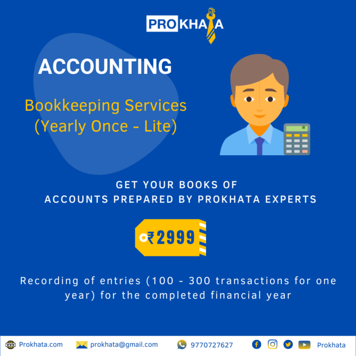 Bookkeeping Services (Yearly Once - Lite)