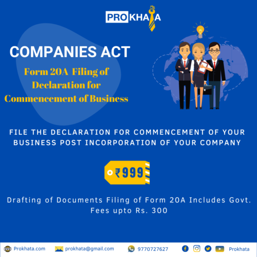 Form 20A - Filing of Declaration for Commencement of Business COMPANIES ACT