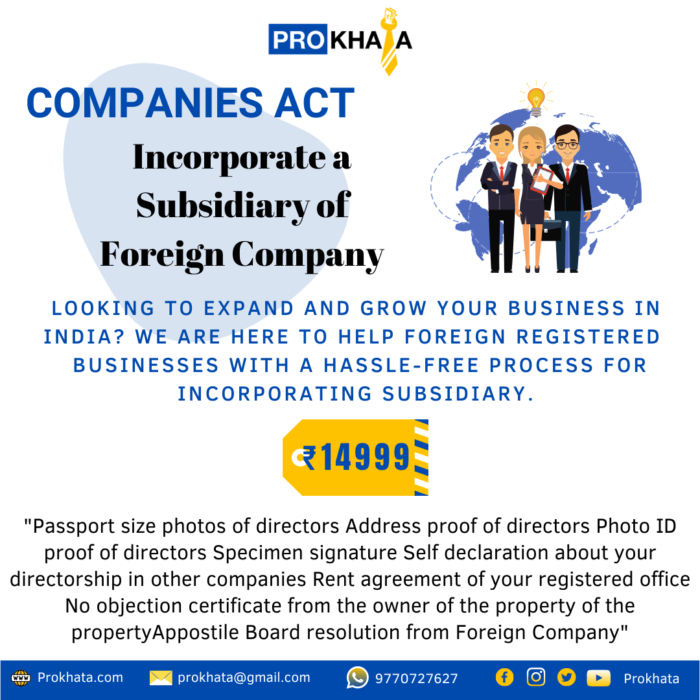 Incorporate a Subsidiary of Foreign Company