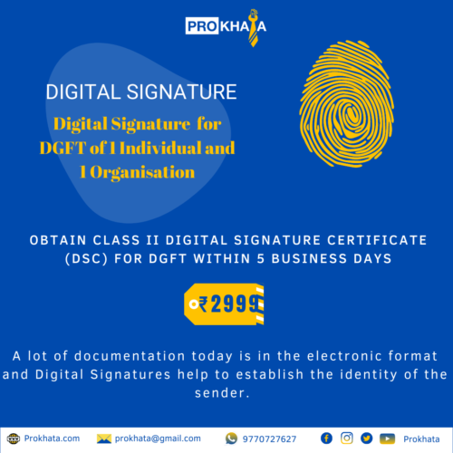 Digital Signature for DGFT of 1 Individual and 1 Organisation
