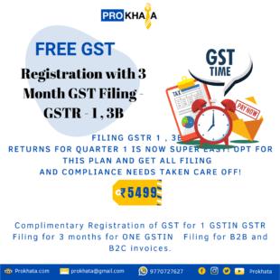 Free GST Registration with 3 Month GST Filing - GSTR - 1 , 3B