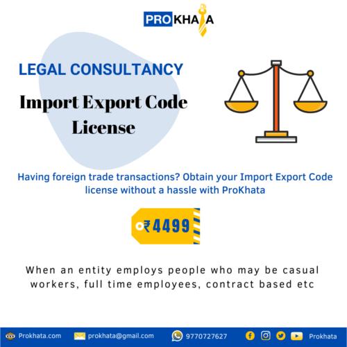 Import Export Code License LEGAL CONSULTANCY
